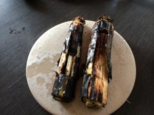 Burnt leek and cod roe