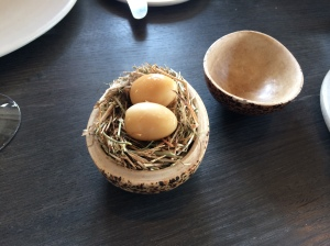 Pickled and smoked quails egg